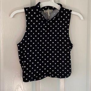 NWT black and white polka dot cropped tank